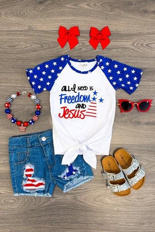 """All I Need is Freedom and Jesus"" Tie Top"