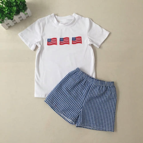 4th Of July Flag Embroidery Top With Shorts Set