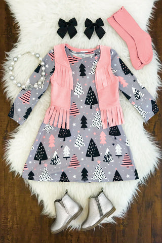 SOFT PINK/GRAY FRINGE VEST DRESS