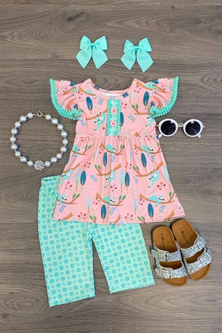 Pink & Mint Sloth Tunic Capri Set