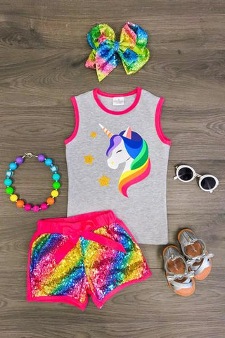 Unicorn Rainbow Sequin Short Set