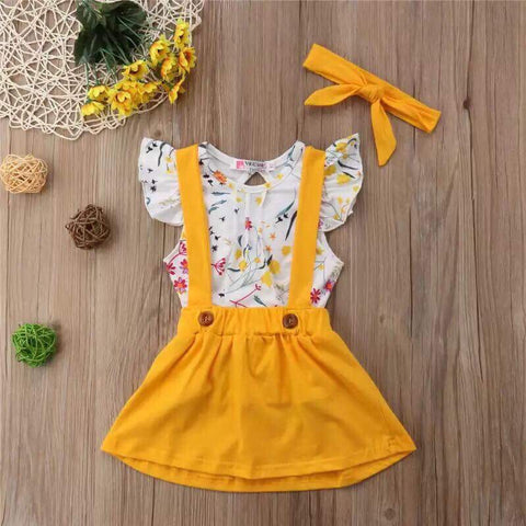 Yellow Girls Suspenders Dress
