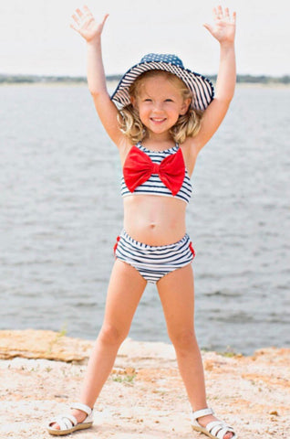 Navy Blue Red Bow Binkini