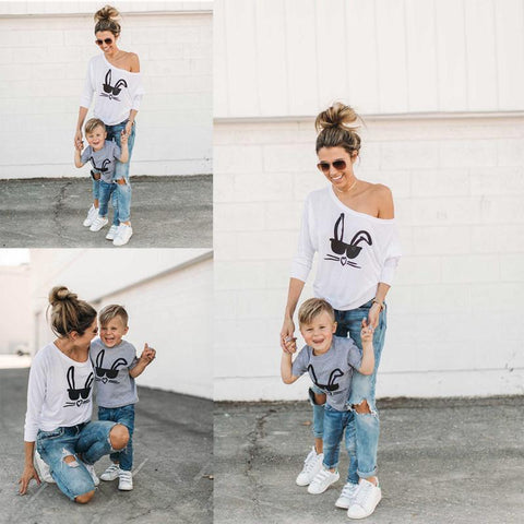 Rabbit Printed T-Shirt Mom Son