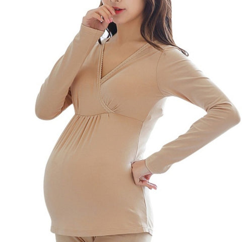 Women Modal Maternity Clothing Long-sleeve Basic Shirt Maternity T-shirt Pregnant Tops For Women Plus Size M-XXL Y6