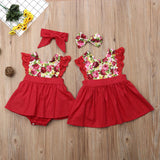 Sister Matching Clothes Dresses Floral Lace Romper