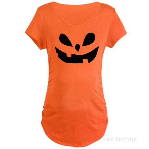 YF0025 New Pregnant Woman Short Sleeve T shirt Funny Halloween Maternity Tops