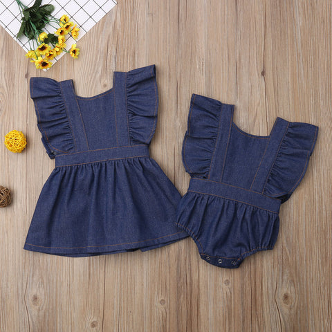 Matching Denim Backless Casual Jumpsuit Romper Dress