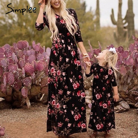 Family matching mother daughter plus size dresses Foral print long girls' dresses
