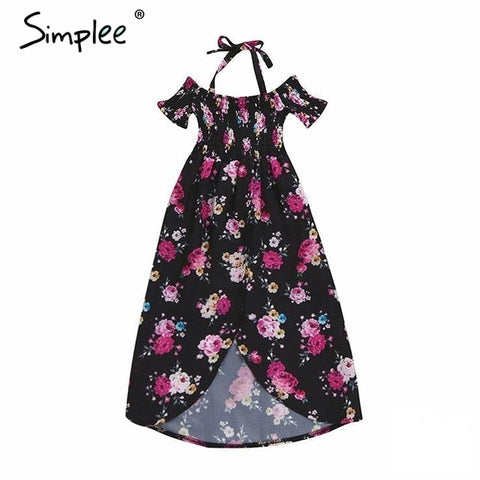 Girls kids floral print off shoulder dress Strap split black childern fashion dress Summer boho beach casual sundress clothing