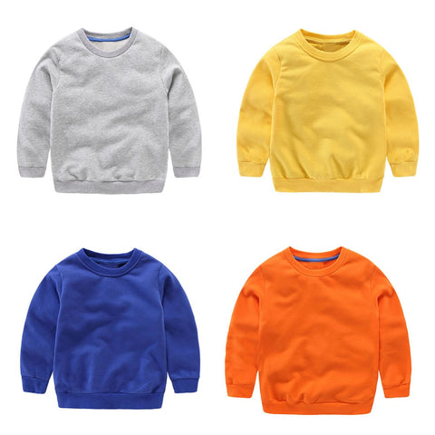 Boys Sweatshirts Basic Cotton O-Neck Solid Color Tops