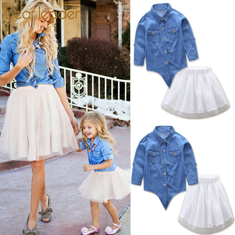 Bear Leader Family Mom and Daughter Dress Set Demin Top + Tutu Dress
