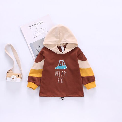 Boy fashion stitching letters hooded pocket sweater