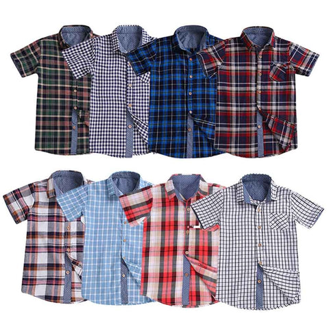 Baby Boys Plaid Casual Shirt Classic Turn Down Collar