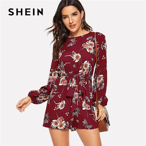 SHEIN Burgundy Bohemian Floral Print Belted Summer Romper Casual Round Neck Long Sleeve Mid Waist Womens Rompers Jumpsuit