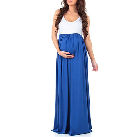 Cotton Blend Women Dress Long Maxi Loose Maternity Pregnancy Crew Neck Daily Summer Patchwork Casual Sleeveless Solid