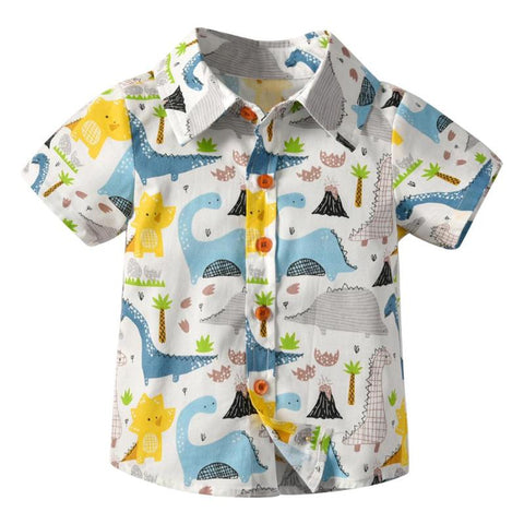 Short Sleeve Basic Boys Shirt Cartoon