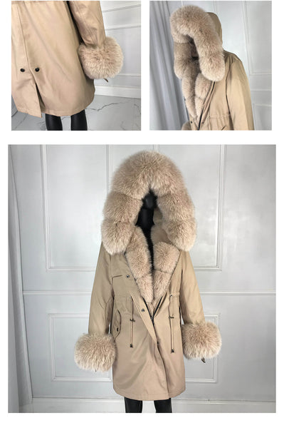 Genuine Parka With Large Collar and Fur Lining