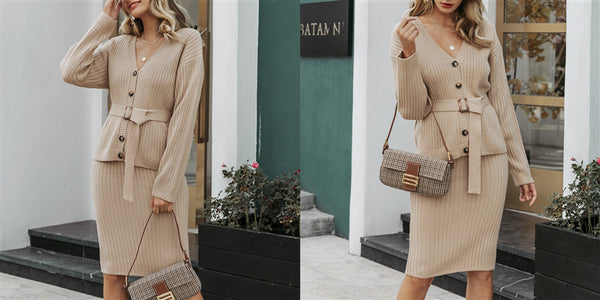 Two-piece Women Knitted Autumn Winter Set