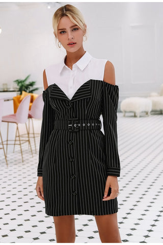 Elegant Striped Women Office Dress