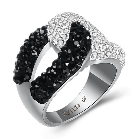 Women black and Clear Austria Crystal Ring