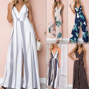 Bodysuit Women Summer Sleeveless Strip Jumpsuit