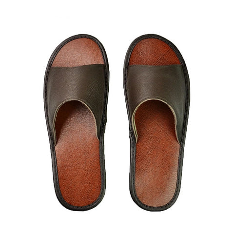 Leather Slippers Couple Indoor All Season - vajshoping