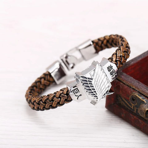 Hot Anime Titan Silver Alloy Bracelets Scout Regiment Leather Woven Punk Bangle - vajshoping