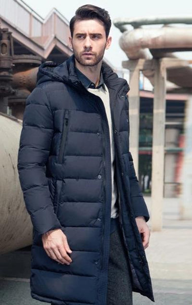 New Clothing Jackets Business Long Thick Winter Coat Men Solid Parka Fashion Overcoat - vajshoping