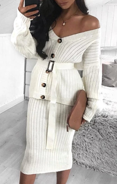 Two-piece Women Knitted Autumn Winter Sweater - vajshoping