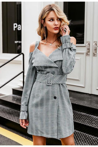 Simplee V-neck plaid sash belt women dress Spaghetti strap button office ladies dress Autumn winter female short party dress - vajshoping