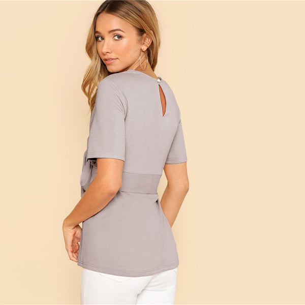 SHEIN Self Belt Keyhole Back Solid Top Weekend Out Going Pullover Women Summer Blouses And Tops Ladies Minimalist Elegant Blouse - vajshoping