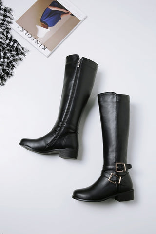 Women High Boots Buckle With Zip Retro - vajshoping