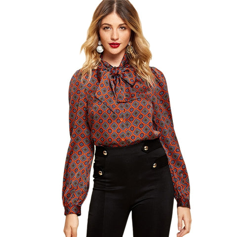 Elegant Long Sleeve Blouses Women Work Wear Modern Lady Autumn Tops - vajshoping