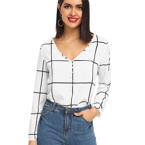 Black And White Office Lady Elegant Long Sleeve Plaid Blouse - vajshoping