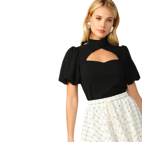 Sexy Cutout Neck Sleeve Black Short Sleeve Ladies Summer Elegant Stand Collar Women Blouse - vajshoping