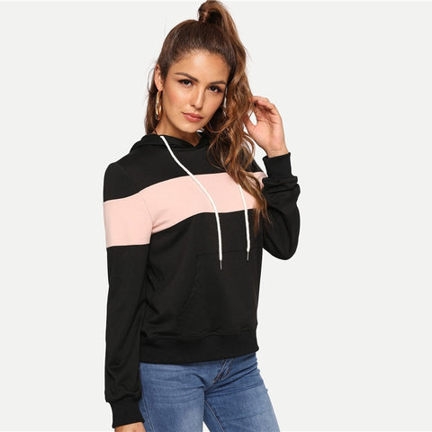 Black Casual Hooded Drawstring Color Block Pocket Minimalist Pullovers  Autumn Preppy Women Sweatshirt - vajshoping