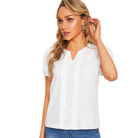 Lady Basic V-Cut White Short Sleeve Blouse Summer Casual Women - vajshoping