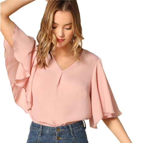 Pink Blouse Women Summer Plain V Neck Office Lady - vajshoping