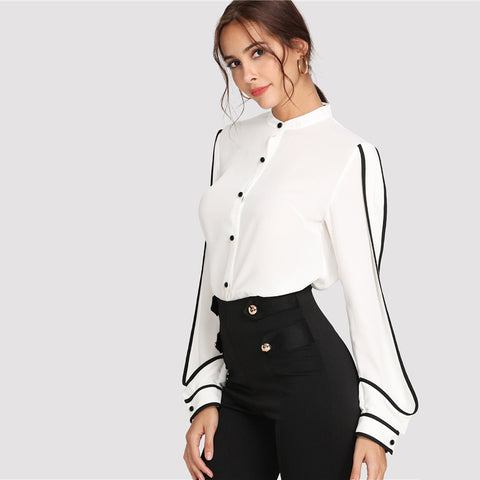 White Elegant Black Blouse - vajshoping