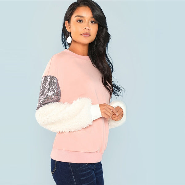 Multicolor Preppy Elegant Round Neck Contrast Faux Fur Sleeve Colorblock Sweatshirt 2018 Autumn Women Sweatshirts - vajshoping