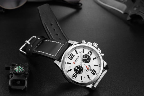 CURREN Luxury Brand Waterproof Sport Wrist Watch Chronograph Quartz Military Genuine Leather Relogio Masculino - vajshoping