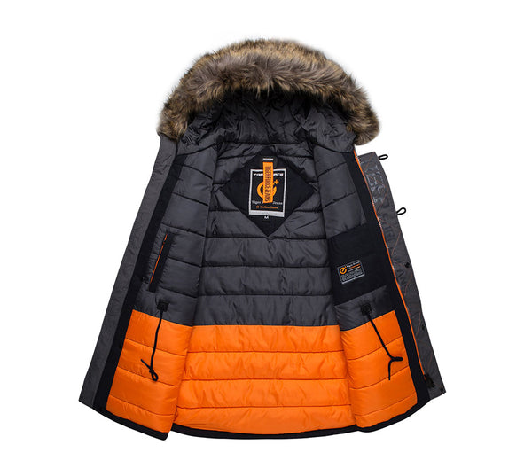 TIGER FORCE Winter Jacket Men Padded Parka Russia Man Winter Coat Artificial Fur Big Pockets Medium-long Thick Parkas Snowjacket - vajshoping