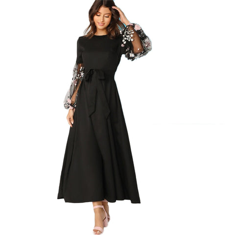 Elegant Women Dress Round Neck Long Sleeve and Dress High Waist - vajshoping