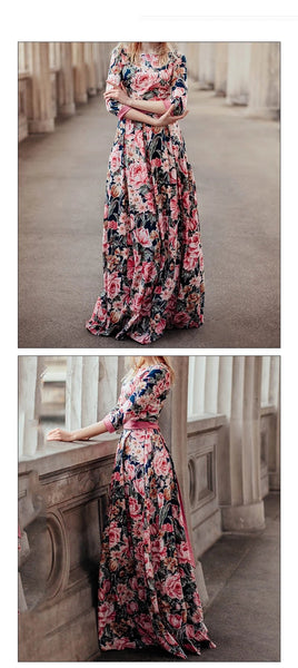 S.FLAVOR Bohemian printing long dress O-neck 3/4 sleeve big hem women Autumn Winter dress elegant casual vestidos de - vajshoping
