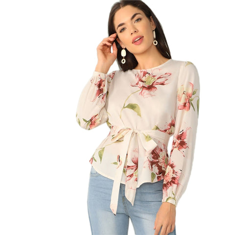 Floral Print Belted Curved Hem Blouse  Women Spring-Summer - vajshoping
