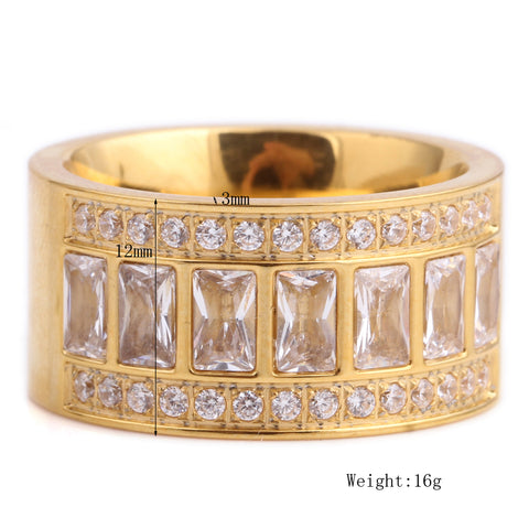 Wide New Gold Colored Beautiful Rhinestone
