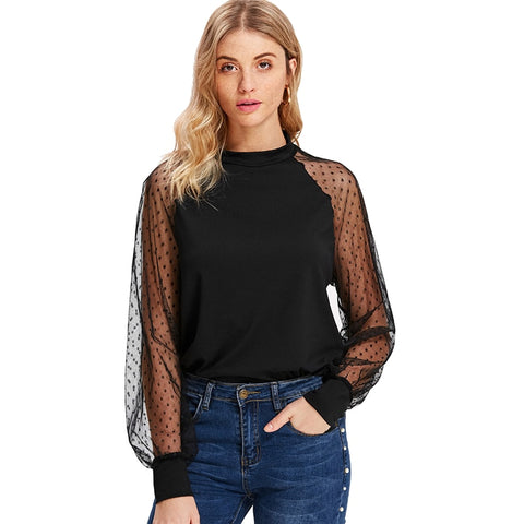 Polka Dot Mesh Blouse Long Sleeve - vajshoping