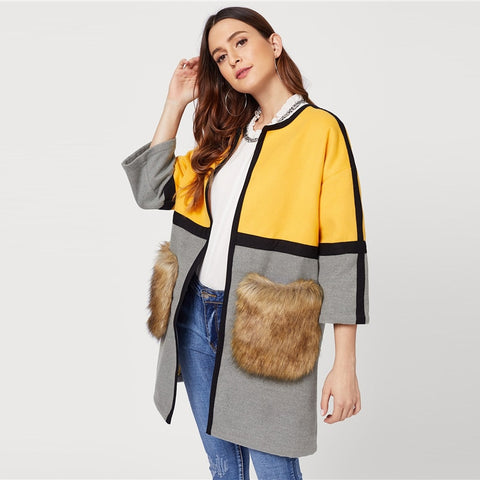 Sheinside Colorblock Open Front Faux Fur Pocket Coat Women Weekend Casual Long Sleeve Clothes Autumn Winter Multicolor Outerwear - vajshoping