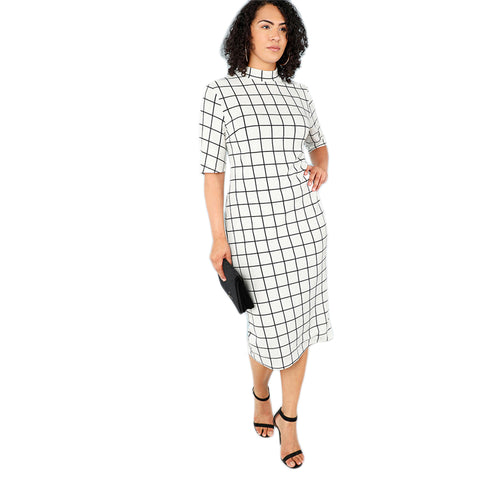 Elegant Bodycon Plus Size Long Pencil Dresses Women Office Lady  Grid Print Dress - vajshoping